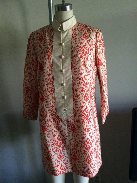 Nehru Collar Raw Silk Shantung Tunic Minidress 196