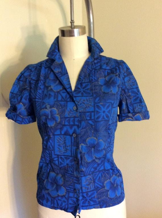 Puff Sleeve Hawaiian Shirt Blouse Small Brushed Co