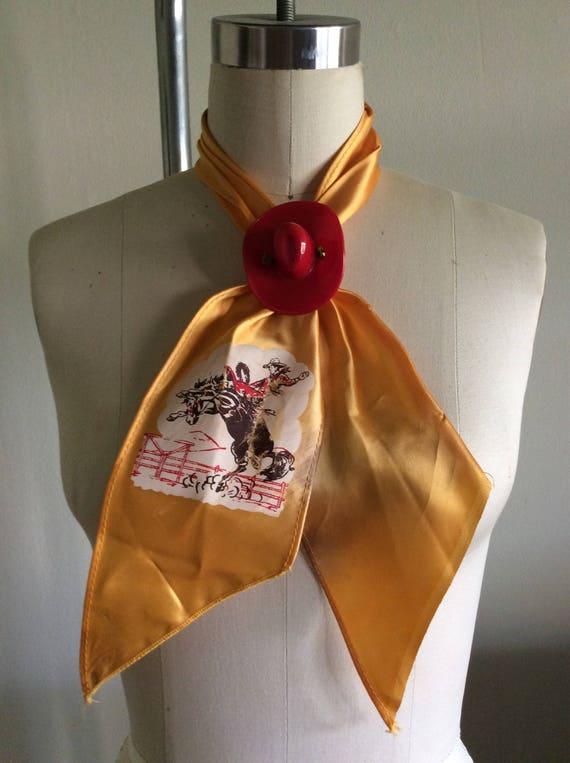 Cowboy Silky Westen Tie with Cowboy Hat Slide