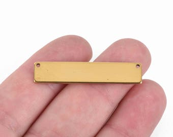 """5 GOLD PLATED Stainless Steel Metal Bar Connector Blanks, top holes, 17ga Rectangle Stamping Blanks, 38mm x 6mm, (1-1/2"""" x 1/4""""), msb0438"""