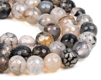 6mm Round WHITE CHOCOLATE AGATE Beads, faceted, full strand, Natural Gemstones gag0194