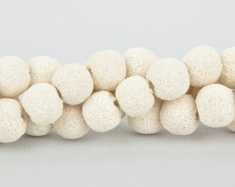 14mm White LAVA Beads, Round Perfume Diffuser Beads, Essential Oil Beads, full strand, about 34 beads, gem0244