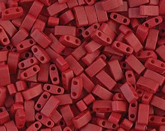 Half Tila Glass Beads Miyuki Transparent Red TLH254 bsd0563