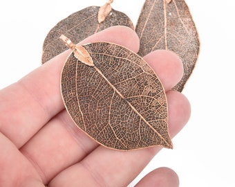 2 Real Leaf Charms COPPER 2.5