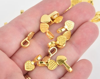 B28997 25pcs Antique Bronze Checked Heart Bail Charms Findings 16x8mm