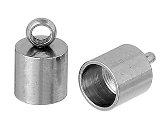 10 Stainless Steel End Caps for Kumihimo Jewelry, Leather Cord End Connectors, Bails, Bead Caps, Fits up to 6mm cord, fin0843