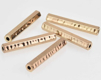 Hammered Tube Spacer Gold Tube Slider Tube with Loops Curved Tube Bead 1 Pc Necklace tube Tube Connector Spacer Tube Gold Tube Beads