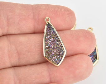 GOLD bezel connector link 1 Copper Gold Druzy Oval Charm 27x16mm chs3877