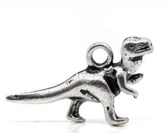 8 Dinosaur Antique Silver Tone Charms SC6259