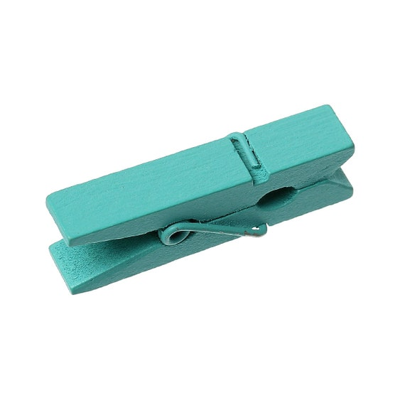 TEAL TURQUOISE BLUE FIN0232 50 Small Painted Wood Clothespin Clip Findings