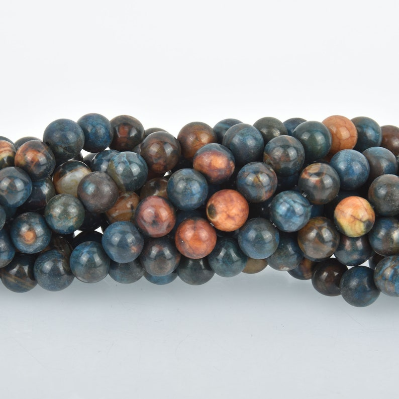8mm Agate Beads Round BLUE EARTH MOSAIC Gemstone Beads 47 beads gem0259