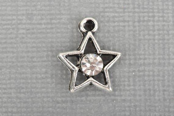 Oxidized Silver with Rhinestone 15mm chs3265 10 Silver STAR Charms