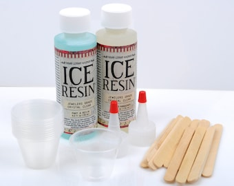 ICE RESIN Kit, Clear Jewelry Resin Starter Kit, plastic cups, doming kit, Jeweler Grade Clear Epoxy Resin, Low Odor, adh0029