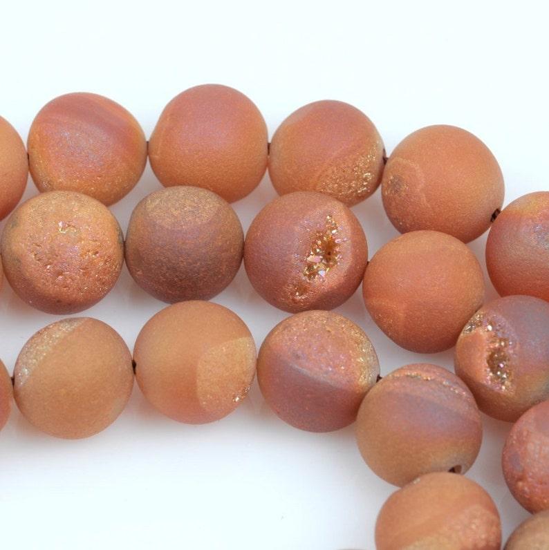 8mm DRUZY QUARTZ Round Beads full strand gdz0127 champagne peach color Titanium Coated Geode Round Beads