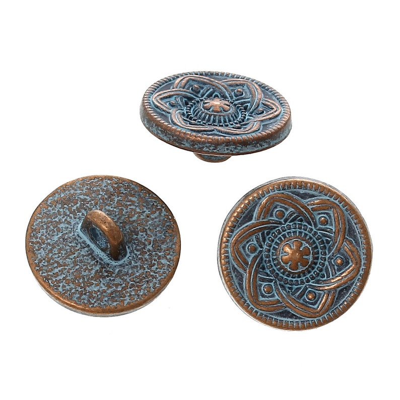 10 Copper Shank Buttons flower pattern 15mm 5/8 image 0
