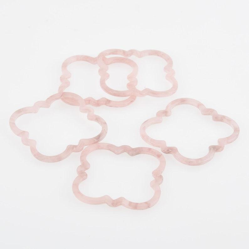 4 Acrylic Clover Flower Charms BLUSH PINK Terrazzo 2 chs5815