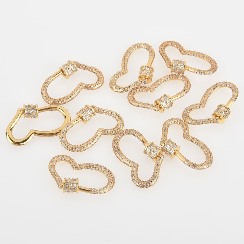 CZ Gold Micro Pave Carabiner Clasp 32mm fcl0337 Heart with Screw Clasp