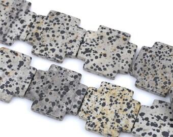 40mm DALMATIAN JASPER Cross Beads, Maltese Cross Jasper Gemstone Beads, full strand, 10 beads per strand, gja0102