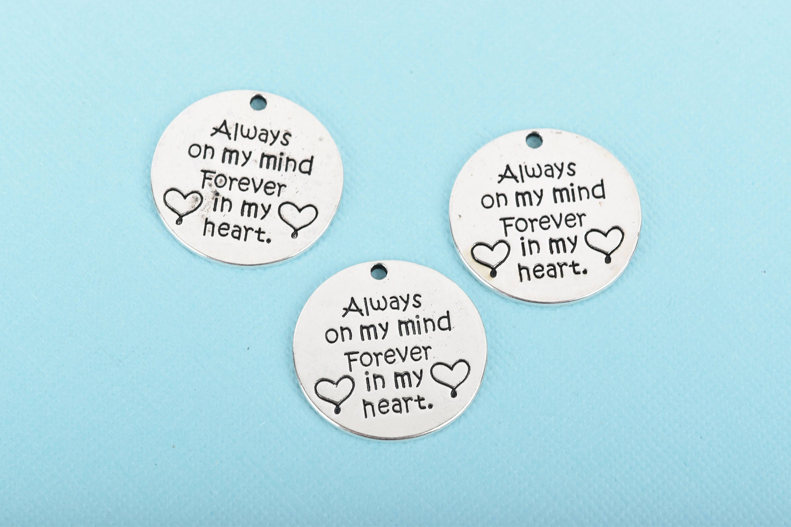 5 Silver Quote Charms Always On My Mind Forever In My Heart
