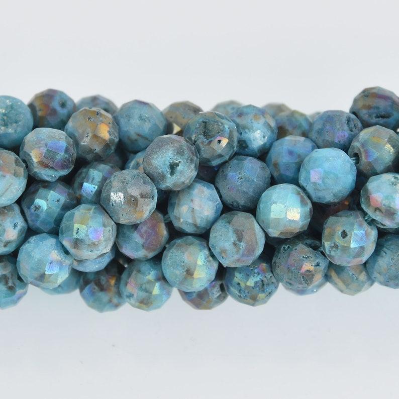 Faceted Titanium Coated Geode 8mm Blue DRUZY QUARTZ Round Beads full strand gem0486