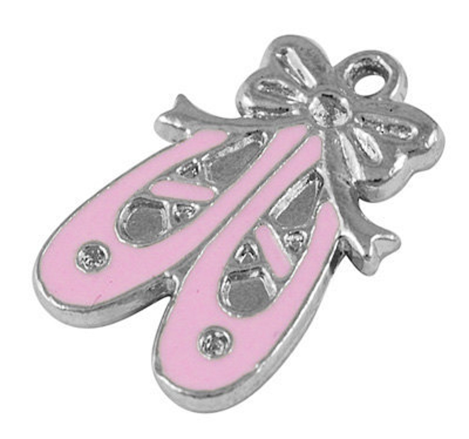 4 pink enamel and silver metal ballet shoes charm pendants. che0034