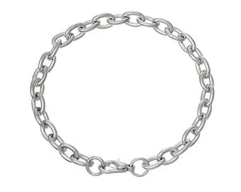 """10 Bracelet Chains, Silver Tone Heavy Cable Link Chain Bracelets, 21cm long (8-1/4"""")  fch0094"""