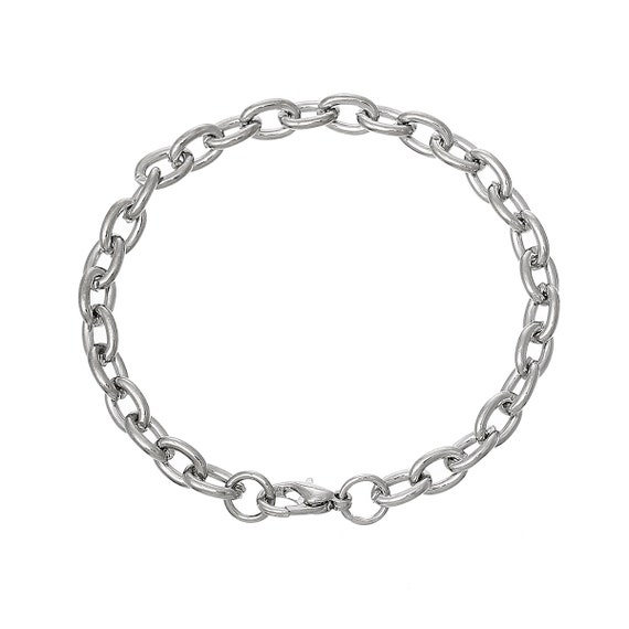 10 Bracelet Chains Silver Tone Heavy Cable Link Chain Etsy