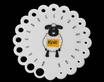 Knitting Needle Gauge Size Guide, sturdy acrylic with the holes sizes indicated, knt0017