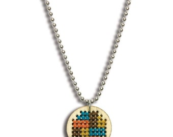 Cross Stitch KIT, make your own GEOMETRIC cross stitch charm pendant necklace, wood circle, includes all supplies, instructions, kit0016