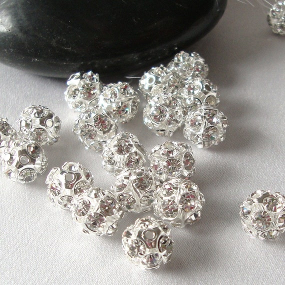 4 Pcs 15mm Rhinestone Crystal Clay Pave Heart Beads for Shamballa Charm Bracelet