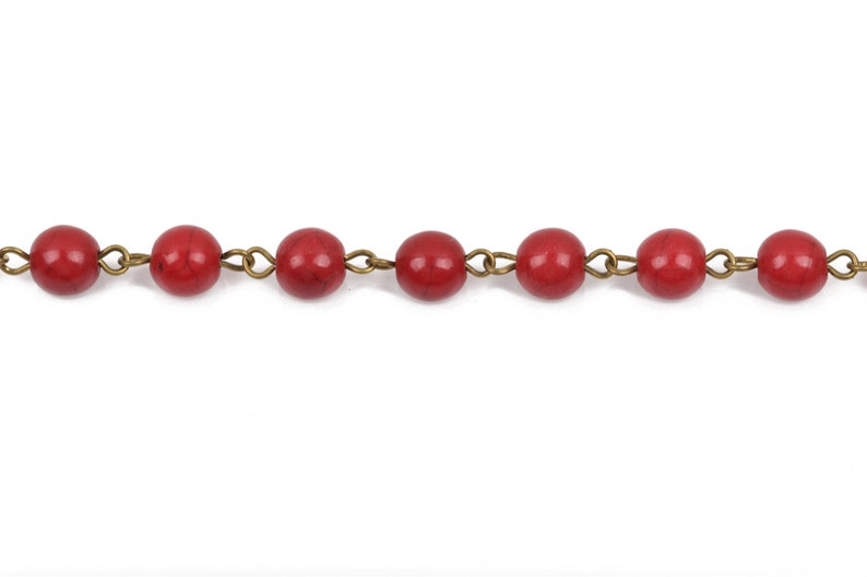 bronze 8mm round stone beads 1 yard RED Howlite Rosary Chain fch0491a