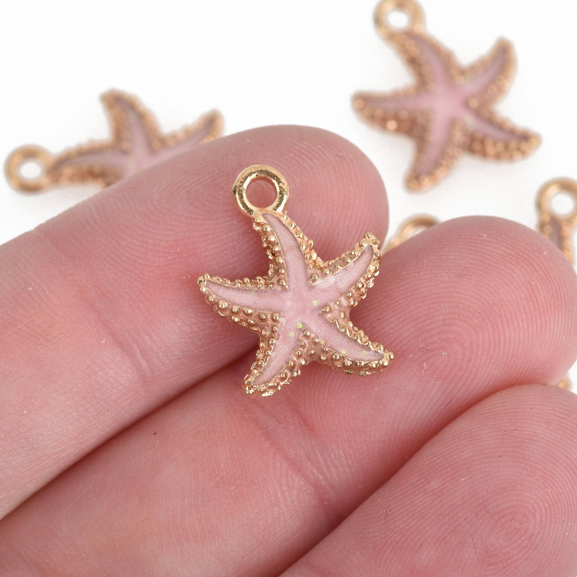 10 Pink Starfish Charms Gold Plated with Enamel Beach Charms | Etsy