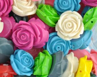 10 Medium Resin Rose Beads or Cabochons  21mm diameter  . mixed colors cab0250