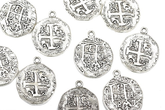 silver 30x25mm round coin charms chs2664 5 Silver Coin Relic Charm Pendants