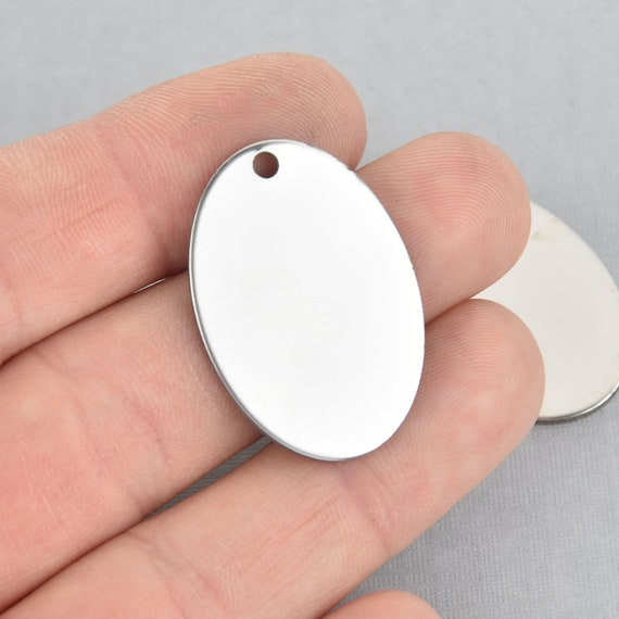 10pcs 304 Stainless Steel Dog Tag Pendants Stamping Blanks Oval Charm Tiny Craft
