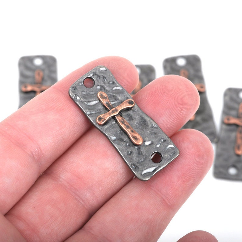 37x15mm rustic hammered metal 2 hole bracelet connector links 20 CROSS Charms Pendants gunmetal base with copper cross cho0144b