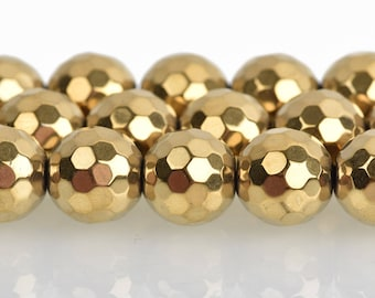 10mm Hematite Round Beads, GOLD Titanium Coated Gemstone Beads, faceted, full strand, 40 beads, ghe0186