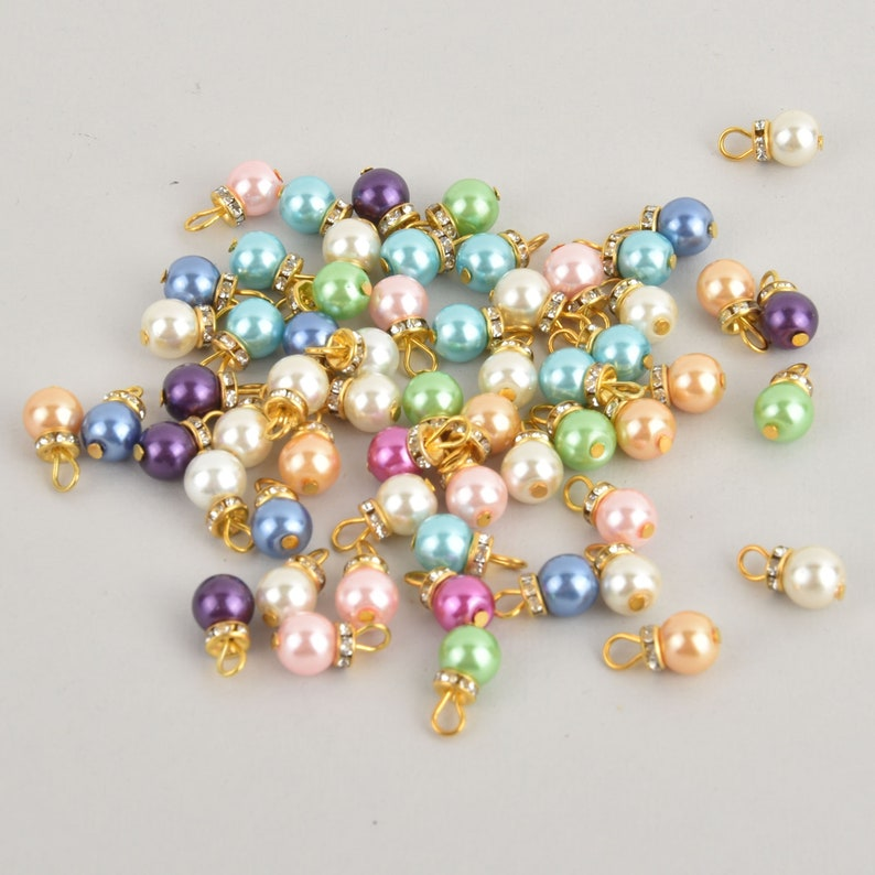 10 Gold Crystal Drop Charms mixed colors glass pearls rhinestone 58 chs7075