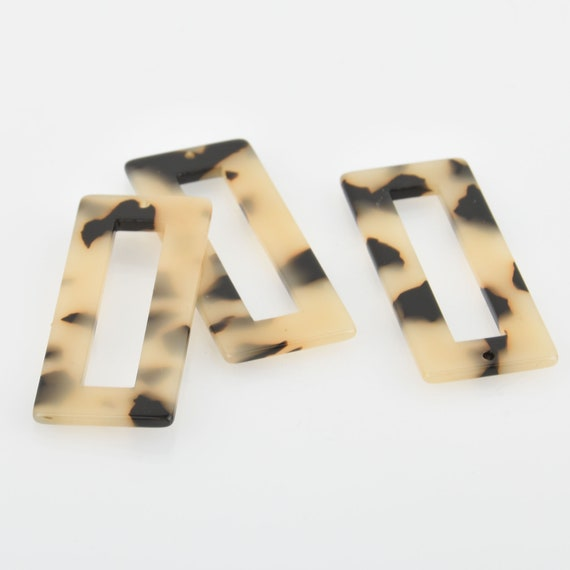 "4 Acrylic Rectangle Charms MOCHA Terrazzo Brown and Black 2/"" chs5622"