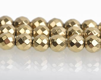 6mm Hematite Round Beads, LIGHT GOLD Titanium Coated Gemstone Beads, faceted, full strand, 68 beads, ghe0190