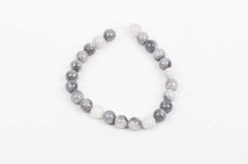 8mm Round Grey HAWKS EYE AGATE Beads Natural Gemstones gag0136b