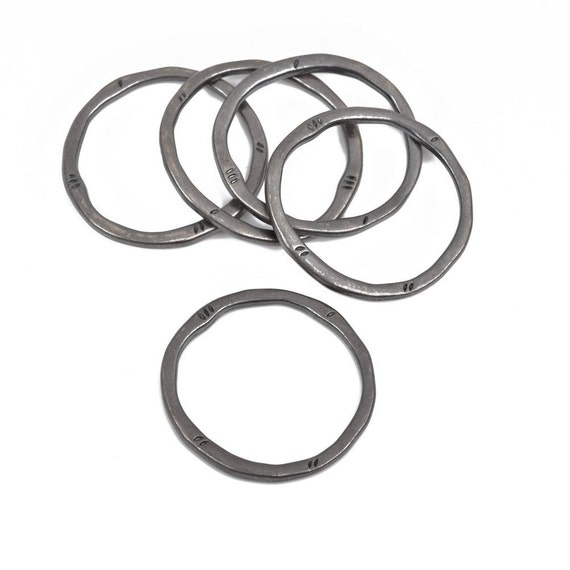 Circle Washer Connector Links 5 Gunmetal Hammered Rings Black 32mm cho0210