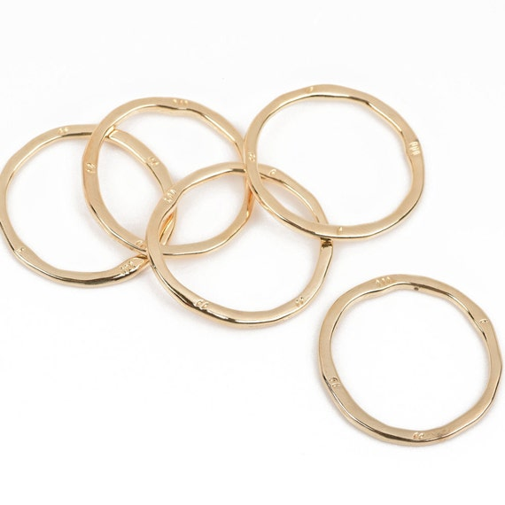 5 Bronze Hammered Rings Circle Washer Connector Links Hammered 32mm chb0523