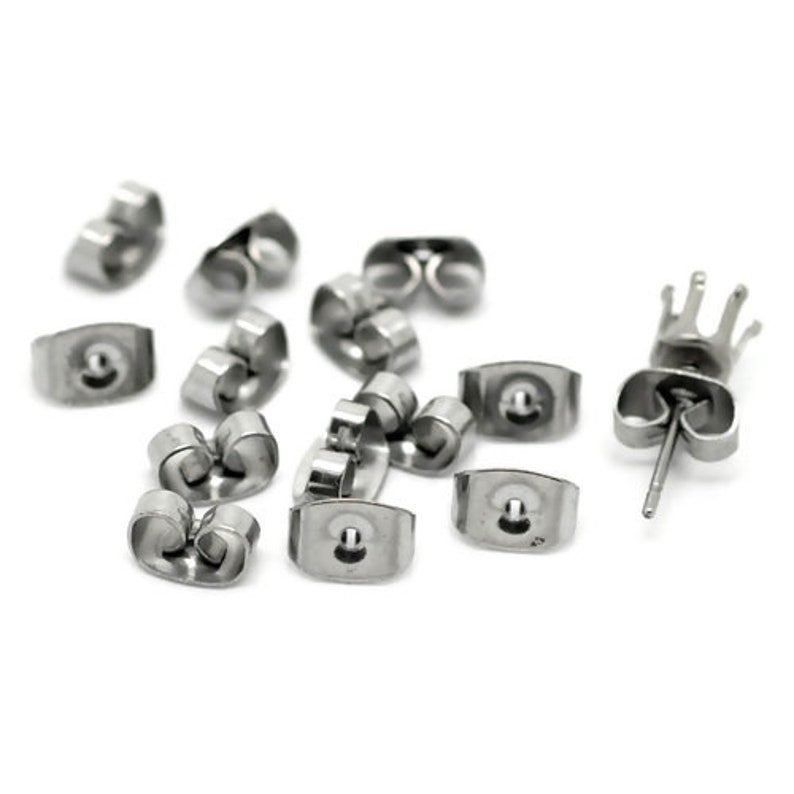 fin1055 100 Stainless Steel Earring Backs Butterfly Earring Nuts