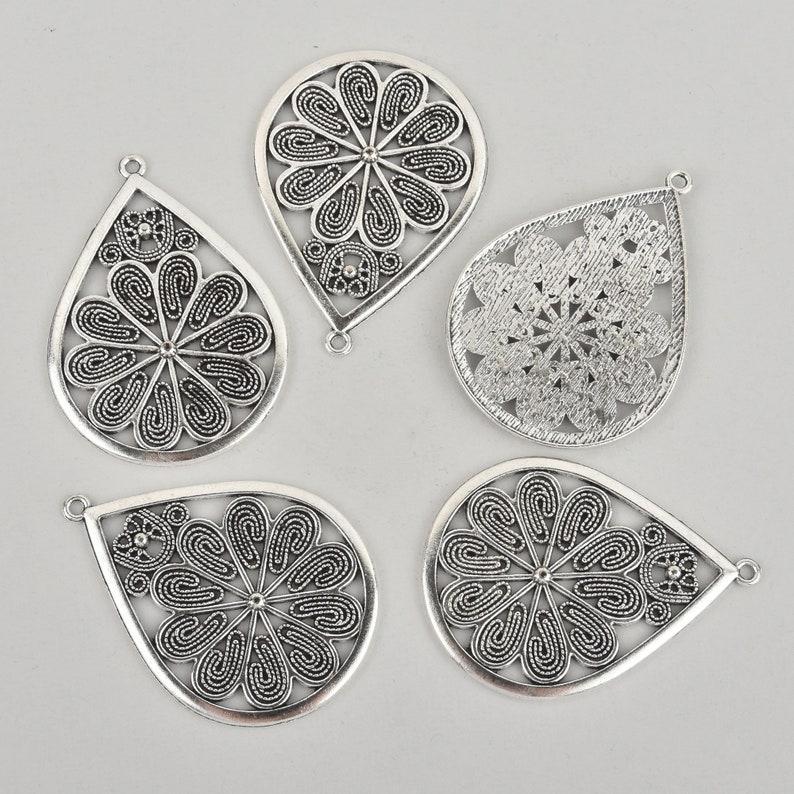 5 Floral Filigree Silver Charms Teardrop Flower 2-14 chs5900