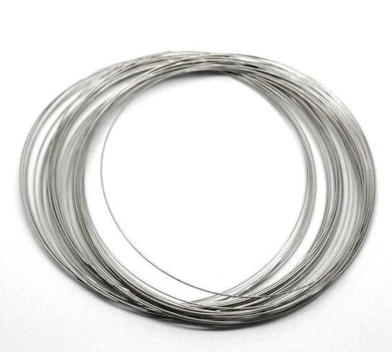 200 Silver Tone Steel Thin Metal Memory Wire Loops (22 gauge) 100mm ...