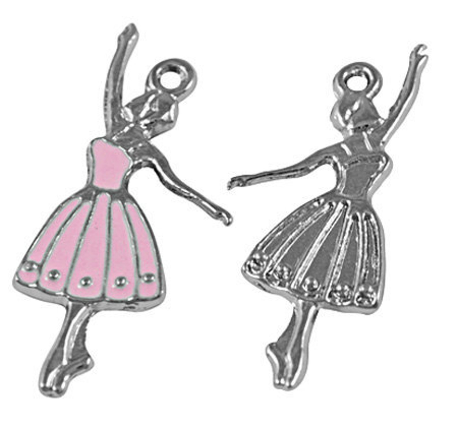 1 pink ballerina dancer ballet charm pendant 31x14mm che0002a