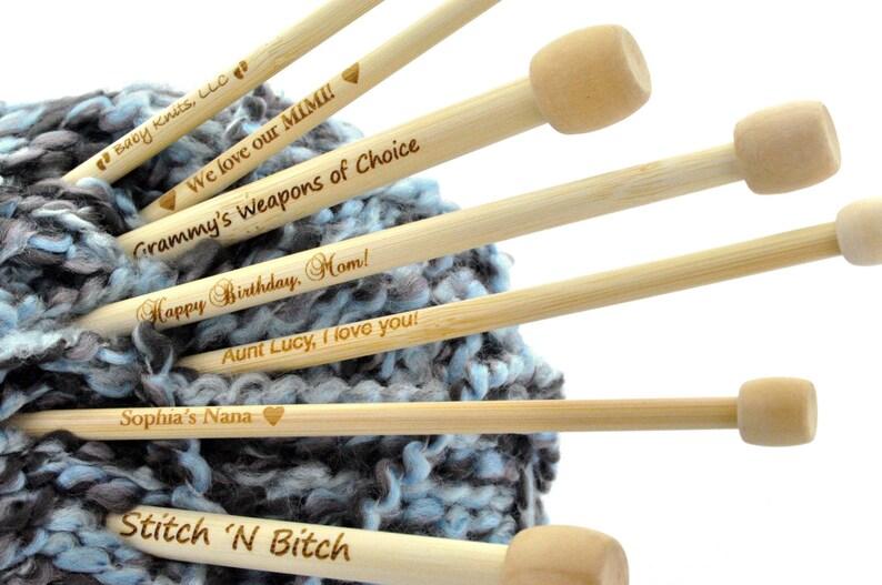 Personalized Engraved Bamboo Knitting Needles you choose image 0