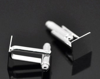10 Silver Plated Square CUFF LINKS Blanks, CUFFLINKS, fits 10mm Square Cabochon Pad, fin0622