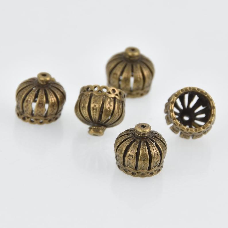 6 Bronze Crown Bead Caps bme0702 18x12mm filigree